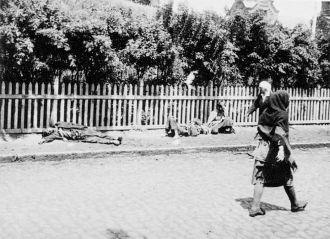 Zmarli z głodu na ulicy w Charkowie, 1932 r. (fot. Alexander Wienerberger / Wikimedia.org / Domena publiczna)