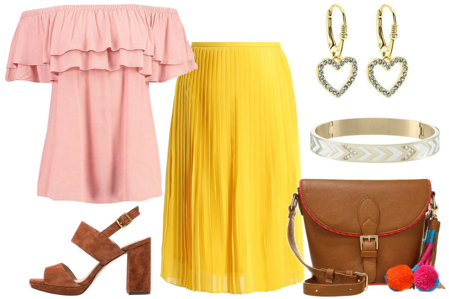 Żółta spódnica i bluzka carmen / mat. partnera