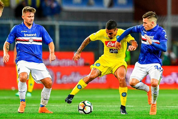 Napoli's Marques Allan, center, is caught between Sampdoria's Karol Linetty and Lucas Torreira, during the Italian Serie A soccer match between Sampdoria and Napoli at the Luigi Ferraris Stadium in Genoa, Italy, Sunday, May 13, 2018. (Simone Arveda/ANSA via AP) SLOWA KLUCZOWE: XSERIEAX