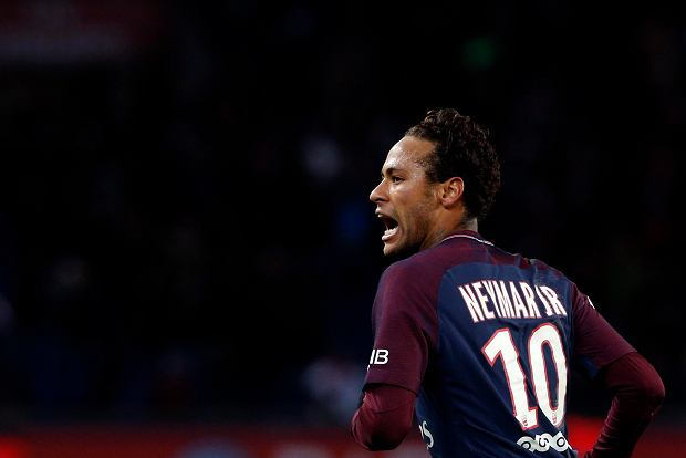 PSG's Neymar celebrates after scoring during his French League One soccer match between Paris-Saint-Germain and Dijon, at the Parc des Princes stadium in Paris, France, Wednesday, Jan.17, 2018. (AP Photo/Thibault Camus)