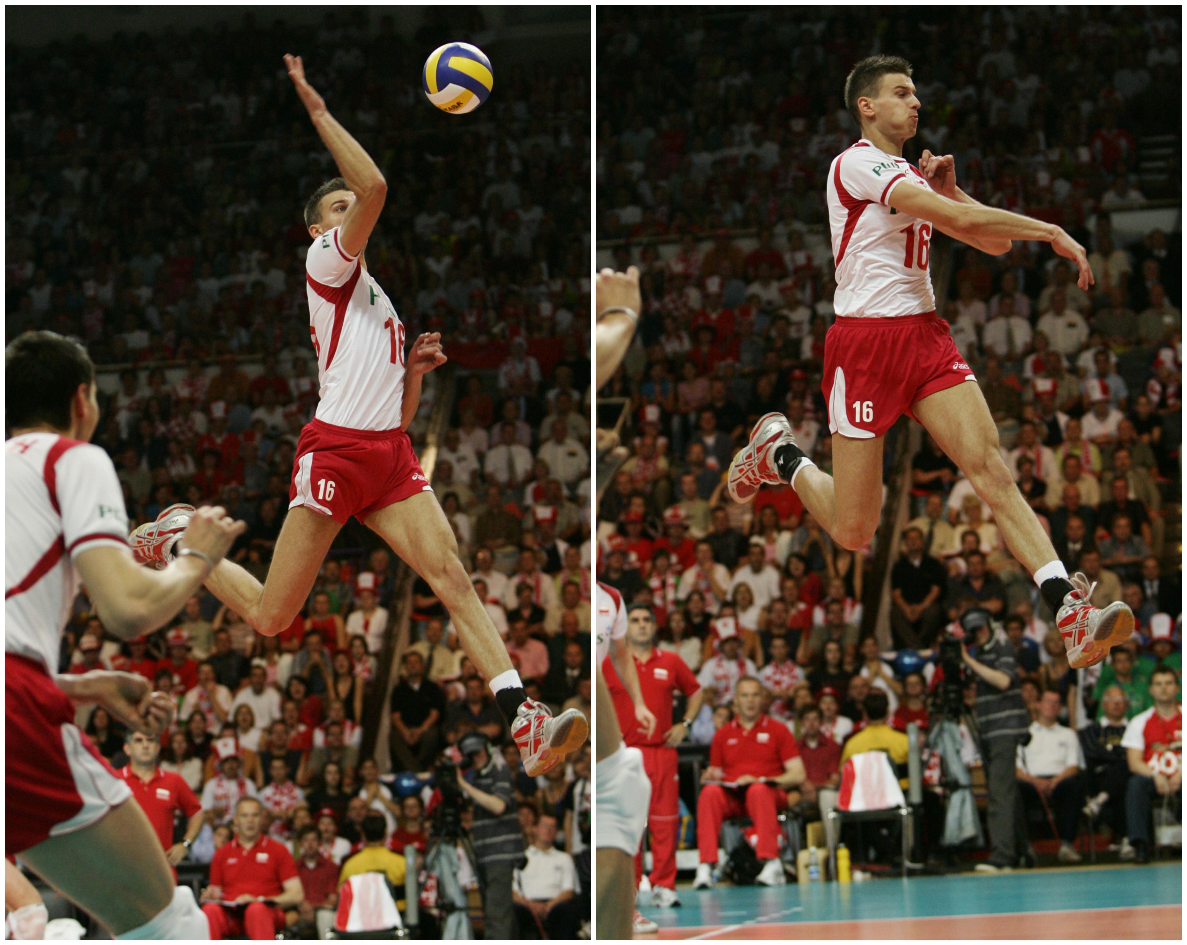Gołaś w trakcie meczu Ligi Światowej Polska-Grecja, czerwiec 2005 r. (fot. Małgorzata Kujawka / Agencja Gazeta)
