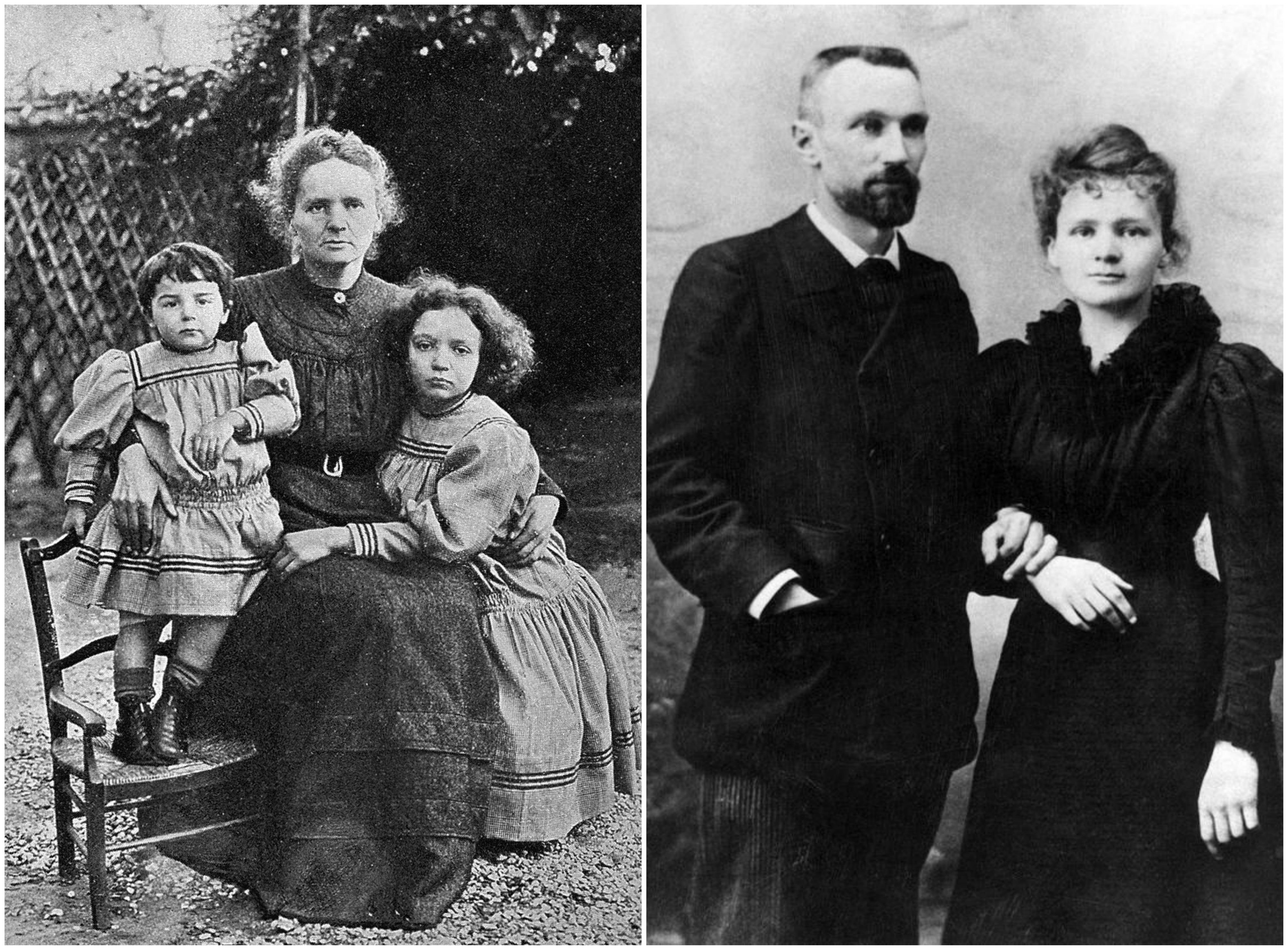 Po lewej Maria Skłodowska-Curie z Ewą i Ireną w 1908 r. Po prawej badaczka i jej mąż - Pierre Curie (fot. Wikimedia.org / CC BY 4.0 / Wikimedia.org / Domena publiczna)