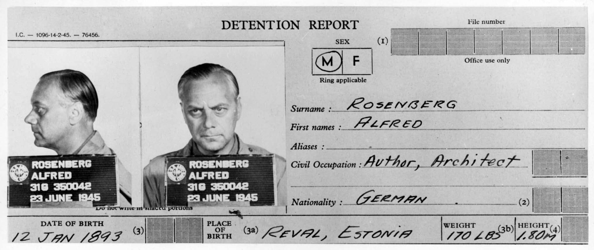 Aresztowany 18 maja 1945 roku przez wojska brytyjskie Rosenberg początkowo odczuwał ulgę, że nie został wydany Sowietom (fot. Instytut Jad Waszem)