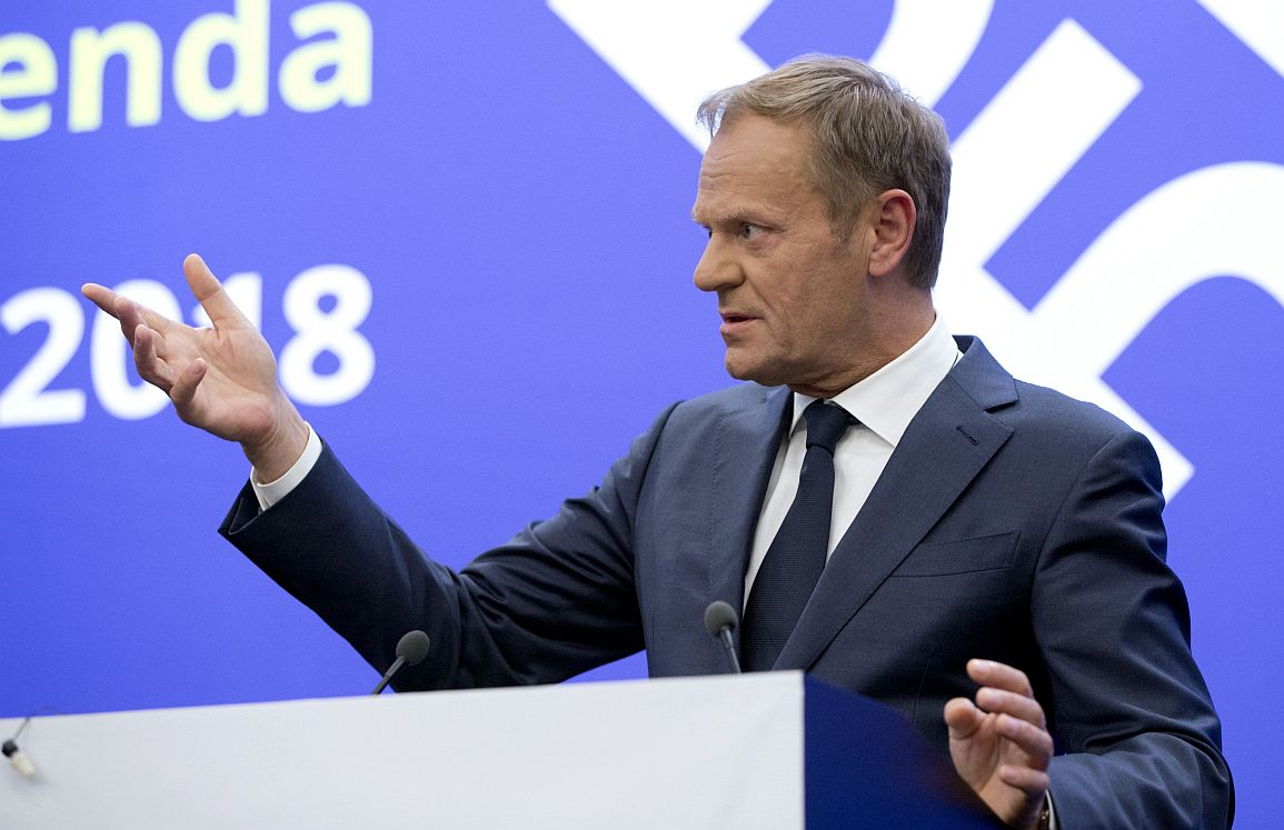 European Council President Donald Tusk speaks during a media conference at the conclusion of an EU and Western Balkan heads of state summit at the National Palace of Culture in Sofia, Bulgaria, Thursday, May 17, 2018. (AP Photo/Virginia Mayo)