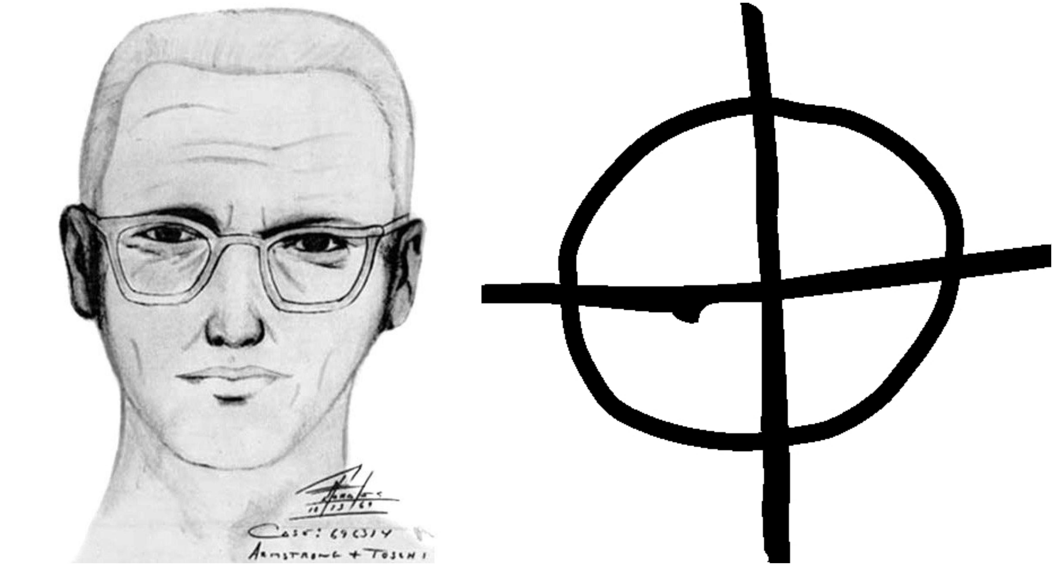 Z lewej rysopis Zodiaka. Z prawej symbol, którego używał jako podpisu w listach wysyłanych m.in. do prasy (fot. US Law Enforcement / Wikimedia.org / Domena publiczna / Wikimedia.org / Domena publiczna)