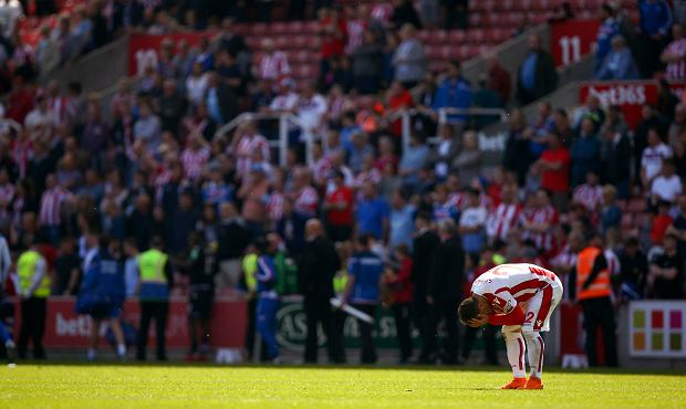 Stoke City's Xherdan Shaqiri reacts after Stoke City are relegated following the English Premier League soccer match between Stoke City and Crystal Palace, at the bet365 Stadium, in Stoke, England, Saturday May 5, 2018. (Dave Thompson/PA via AP) SLOWA KLUCZOWE: soccer;football