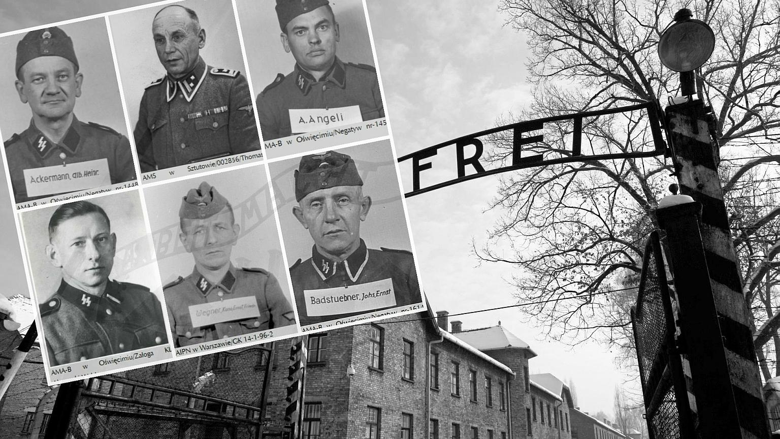 Brama byłego obozu Auschwitz i twarze SS-manów