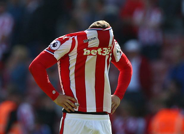 Stoke City's Xherdan Shaqiri reacts after Stoke City are relegated, following the English Premier League soccer match between Stoke City and Crystal Palace, at the bet365 Stadium, in Stoke, England, Saturday May 5, 2018. (Dave Thompson/PA via AP) SLOWA KLUCZOWE: soccer;football
