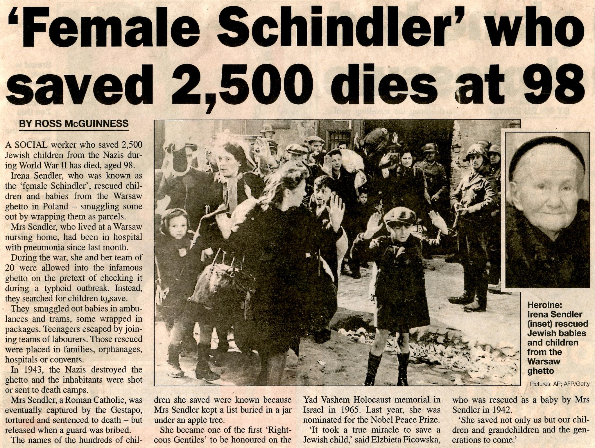 Postać Sendlerowej jest znana na całym świecie. Na zdjęciu fragment artykułu, jaki o Sendlerowej napisał jeden z amerykańskich dziennikarzy tuż po jej śmierci (fot. Jake / Flickr.com / CC BY 2.0)