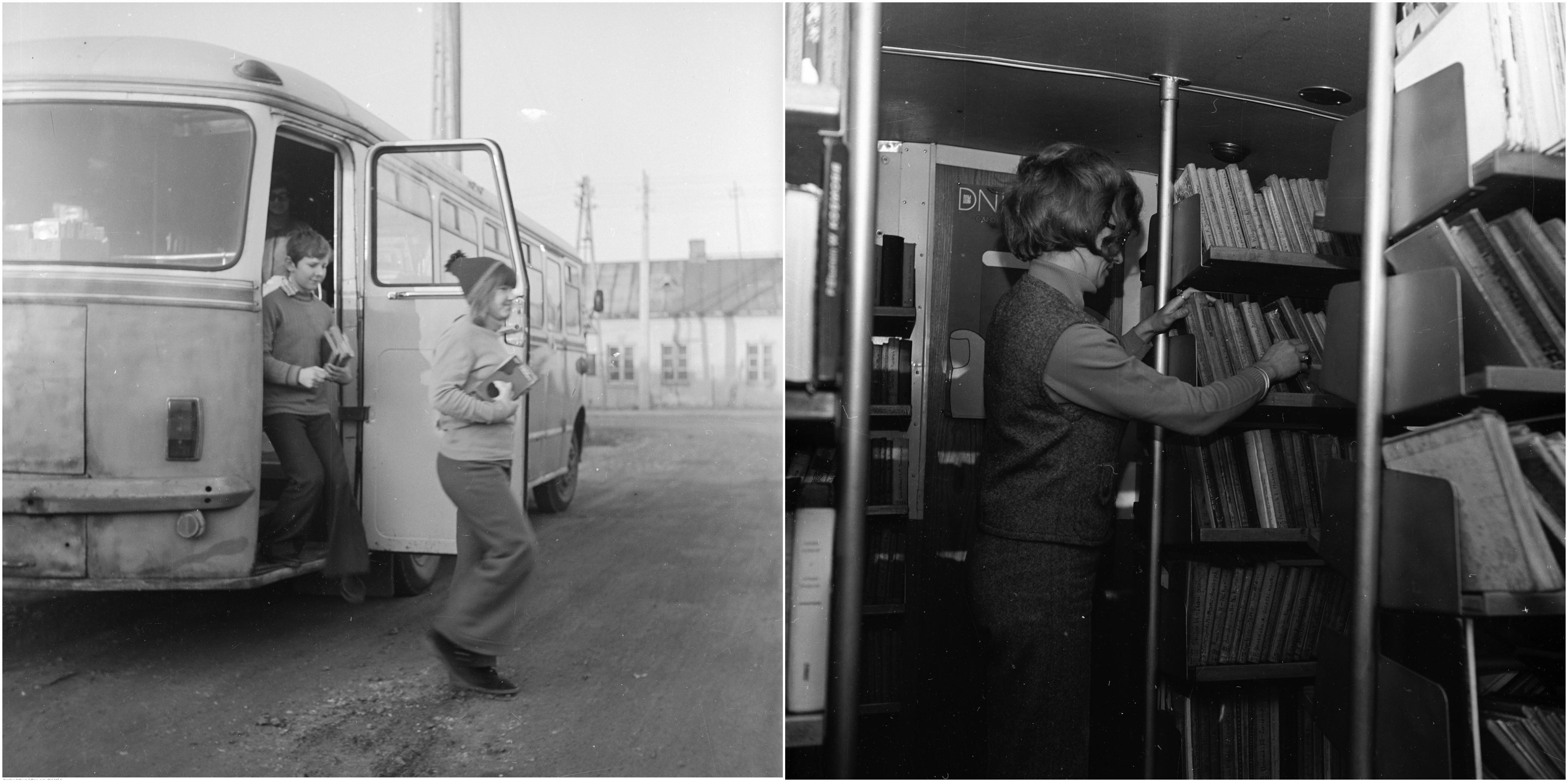 Bibliobus Biblioteki Publicznej w Warszawie, 1973 r. Po lewej dzieci wysiadają z bibliobusu - autobusu San H100, po prawej kierowniczka Barbara Stępniewska we wnętrzu bibliobusu (fot. Archiwum Grażyny Rutowskiej / NAC)