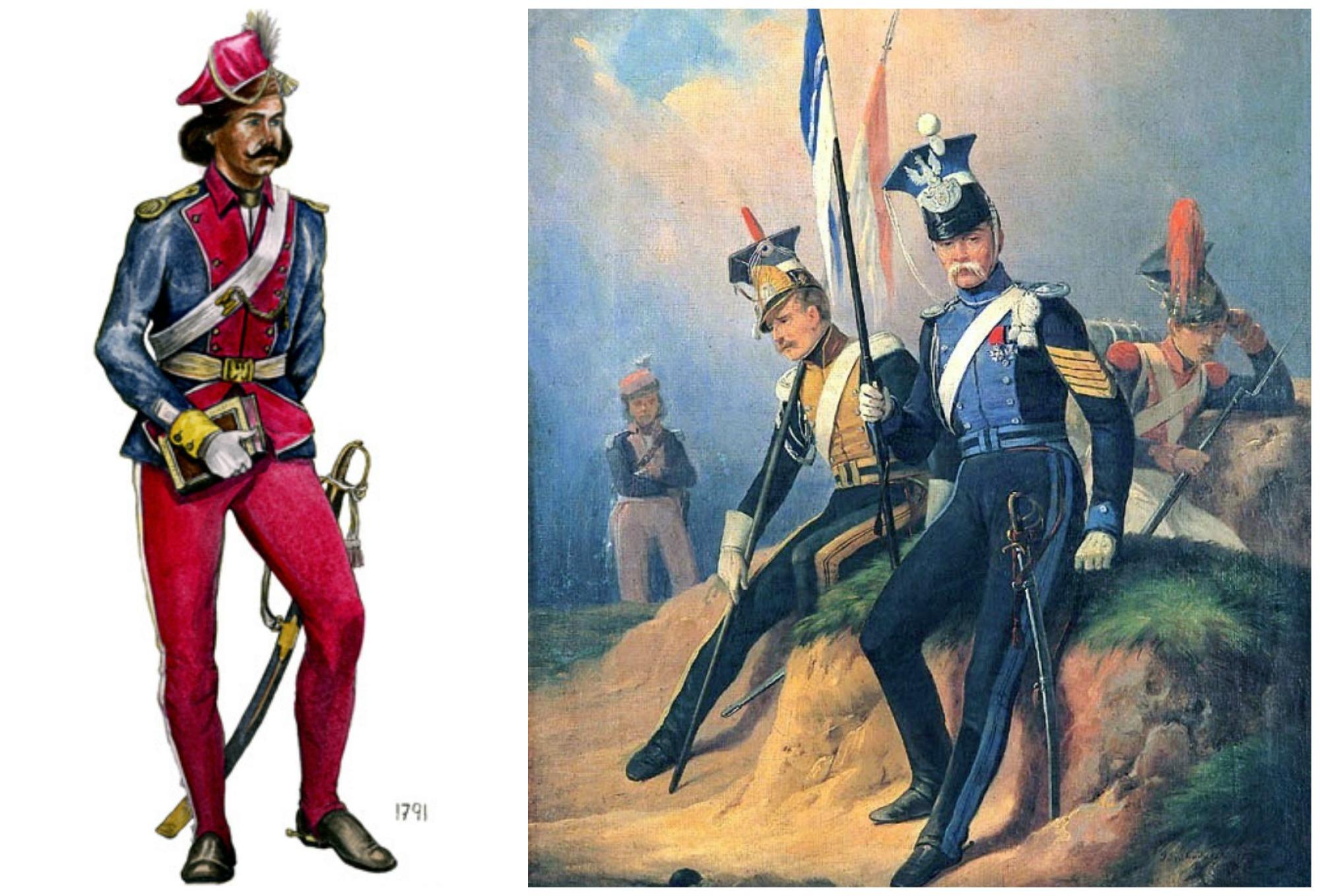 Z lewej oficer polskiej Kawalerii Narodowej w 1791 r. Z prawej ułani armii Księstwa Warszawskiego na obrazie Januarego Suchodolskiego (fot. Wikimedia.org / Free Art License / Wikimedia.org / Domena publiczna)