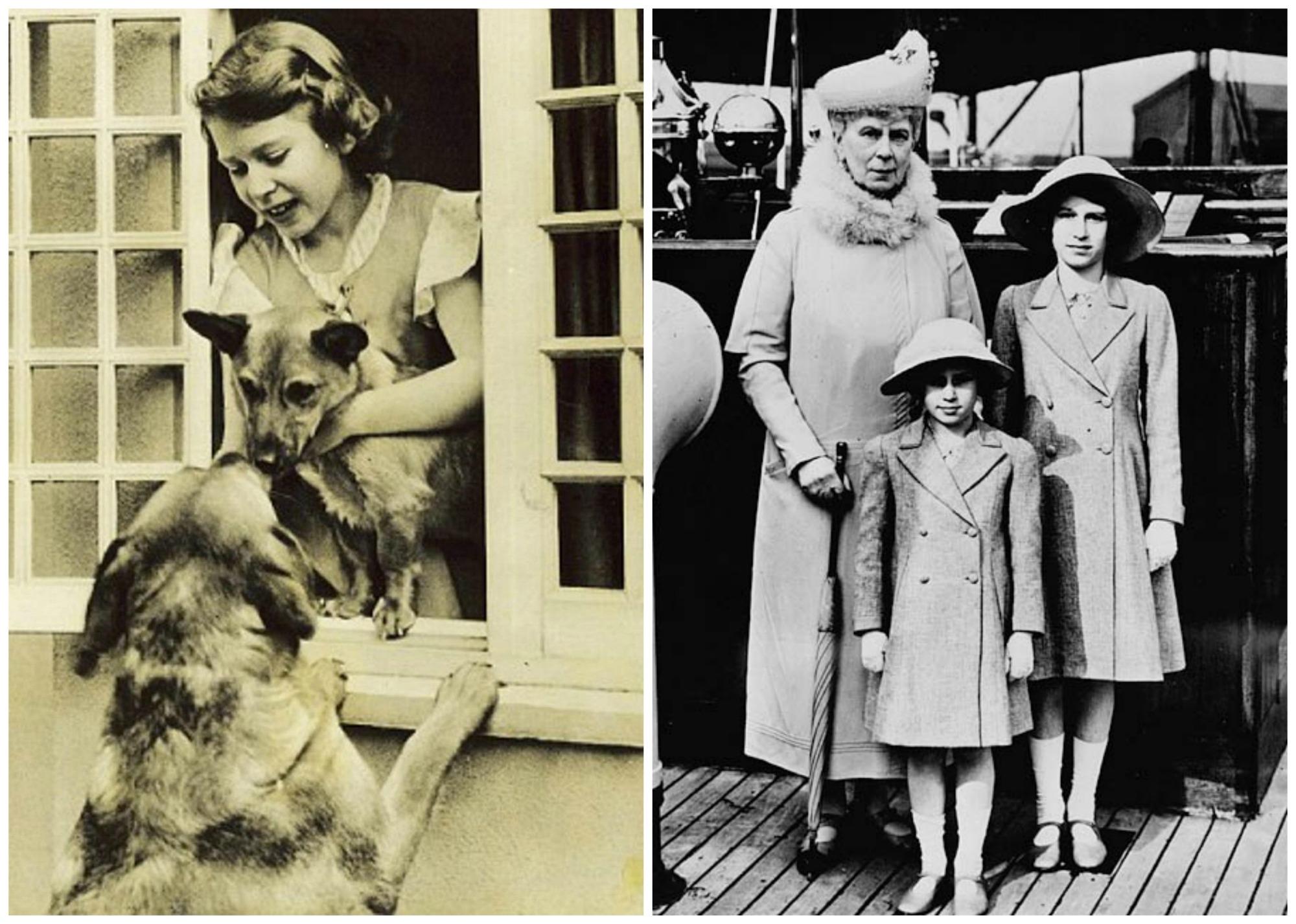 Po lewej trzynastoletnia księżniczka Elżbieta ze swoimi psami, po prawej w 1939 r. z babką Marią i młodszą siostrą - księżniczką Małgorzatą (fot. Flickr.com / Domena publiczna /  Federal News Photos / Library and Archives Canada / PA-125804)