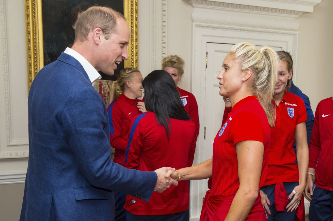 Britains Prince William meets England Womens football team captain Steph Houghton during a reception for the England Women football team at Kensington Palace in London, Thursday July 13, 2017. (Dominic Lipinski/Pool via AP)