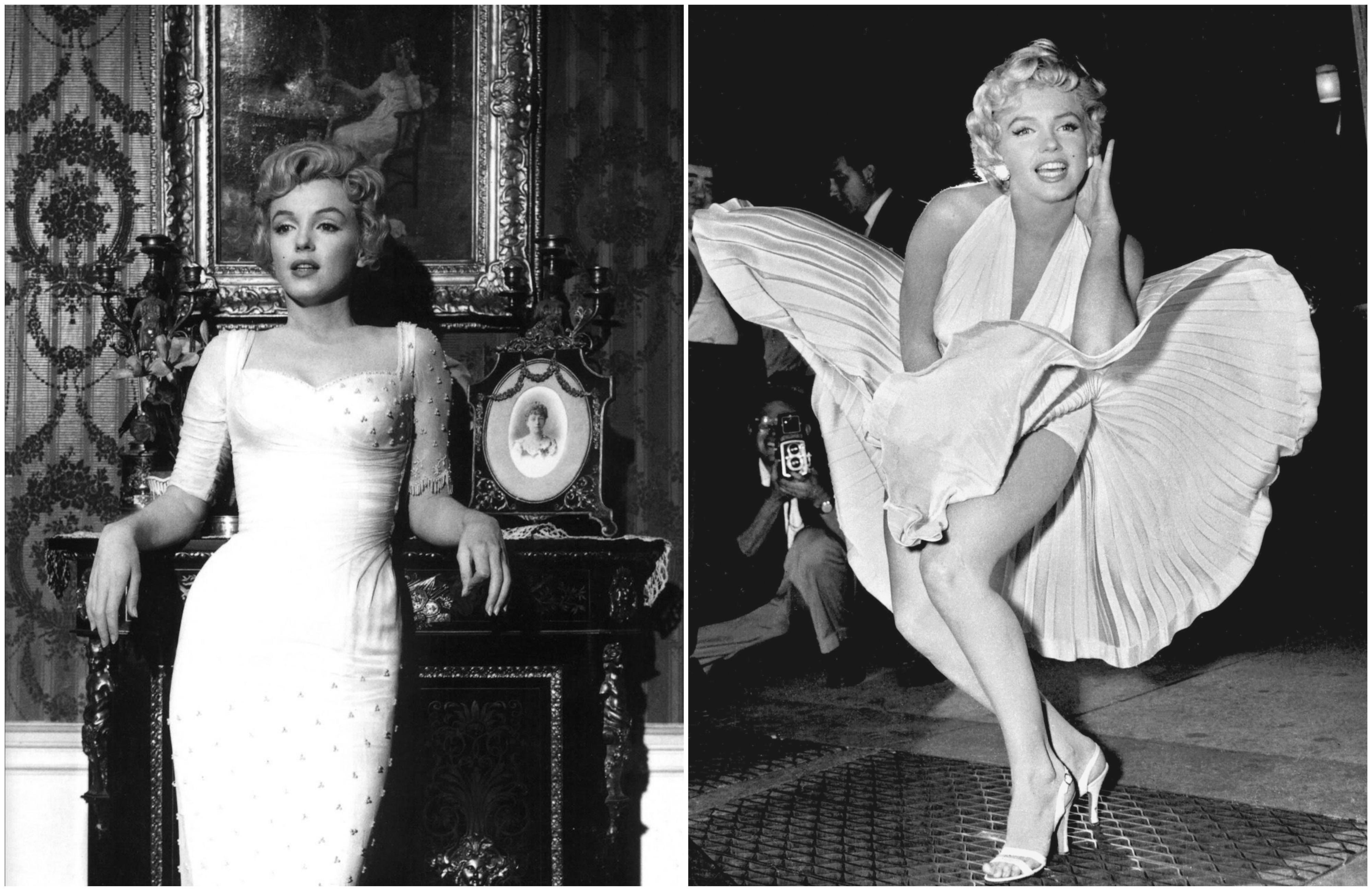 Po lewej Marilyn Monroe w filmie 'Książę i aktoreczka' z 1957 r. Na zdjęciu z prawej - trzy lata wcześniej - podczas słynnej sceny w metrze kręconej na potrzeby filmu 'Słomiany wdowiec' (fot. Milton H. Greene / Wikimedia.org / Domena publiczna / Published by Corpus Christi Caller-Times-photo from Associated Press / Wikimedia.org / Domena publiczna)