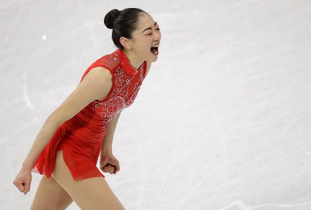 Mirai Nagasu of the United States celebrates after her performance in the ladies single skating free skating in the Gangneung Ice Arena at the 2018 Winter Olympics in Gangneung, South Korea, Monday, Feb. 12, 2018. (AP Photo/Bernat Armangue) SLOWA KLUCZOWE: 2018 Pyeongchang Olympic Games;Winter Olympic games;Sports;Events;XXIII Olympiad