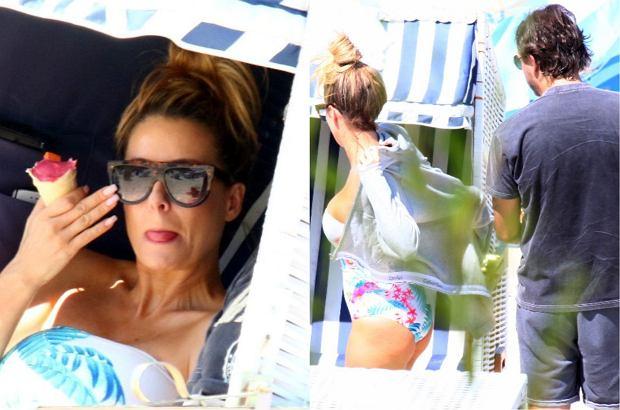 Rozenek z rodziną na plaży. Jej ciało w skąpym kostiumie nie wygląda tak perfekcyjnie jak na Instagramie