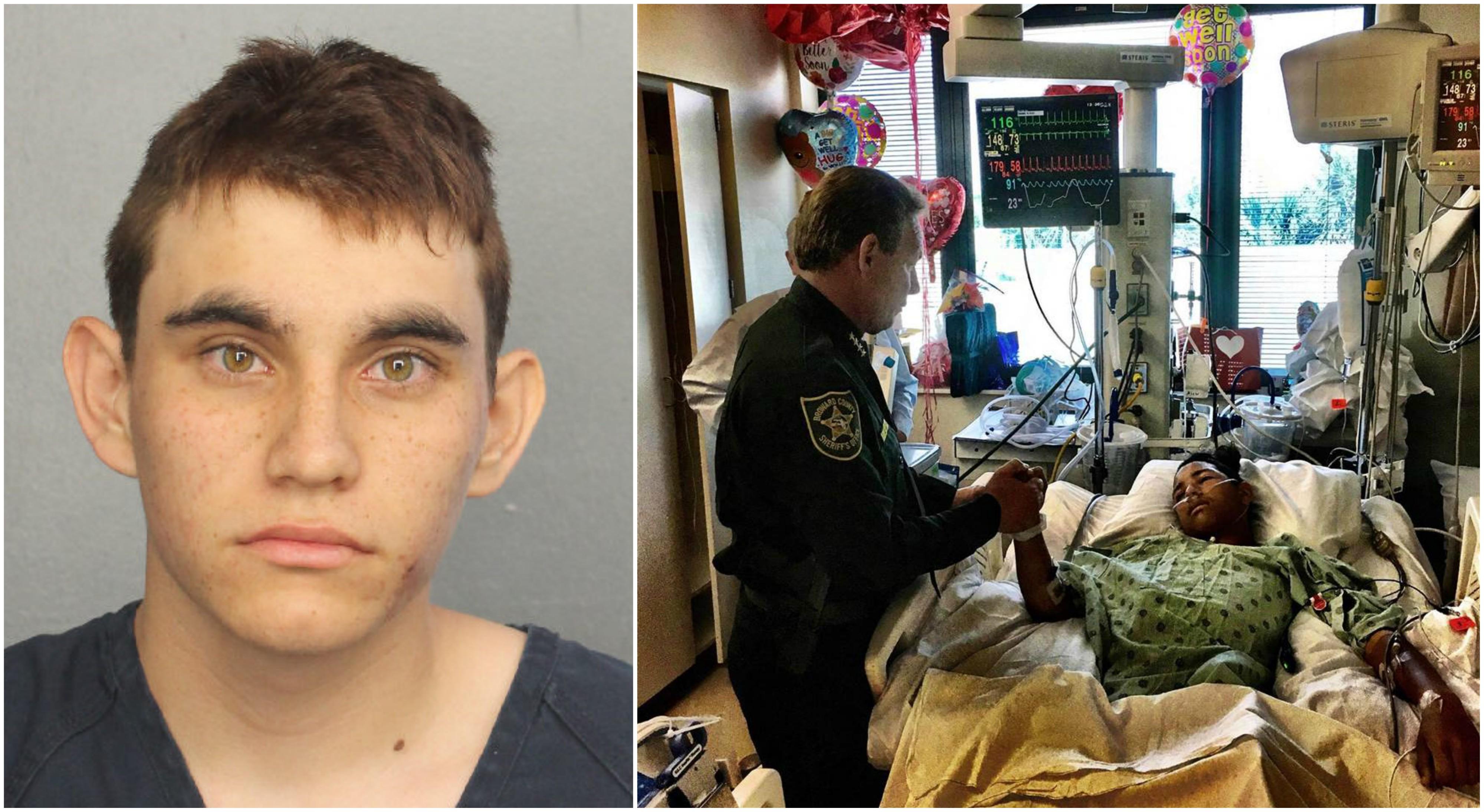 Z lewej Nicolas Cruz już po aresztowaniu. Z prawej lokalny szeryf odwiedzający jedną z ofiar strzelaniny w szpitalu (fot. Broward County Sheriff's Office, Florida / Wikimedia.org / Domena publiczna)