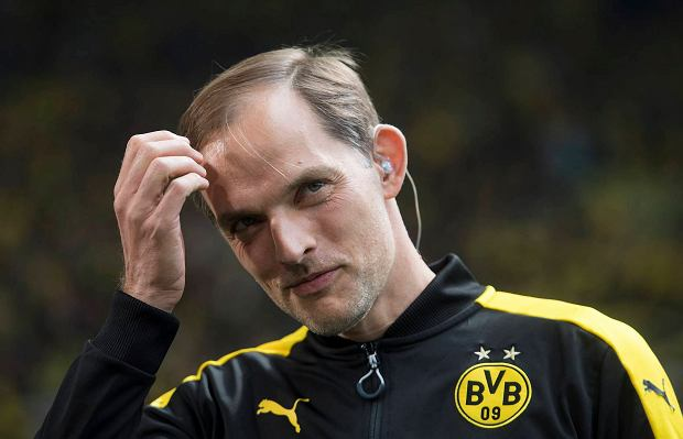 Dortmund's coach Thomas Tuchel waits ahead of the German Bundesliga soccer match between Borussia Dortmund and SV Werder Bremen in the Signal Iduna Park stadium in Dortmund, Germany, Saturday, May 20, 2017.   (Bernd Thissen/dpa via AP)