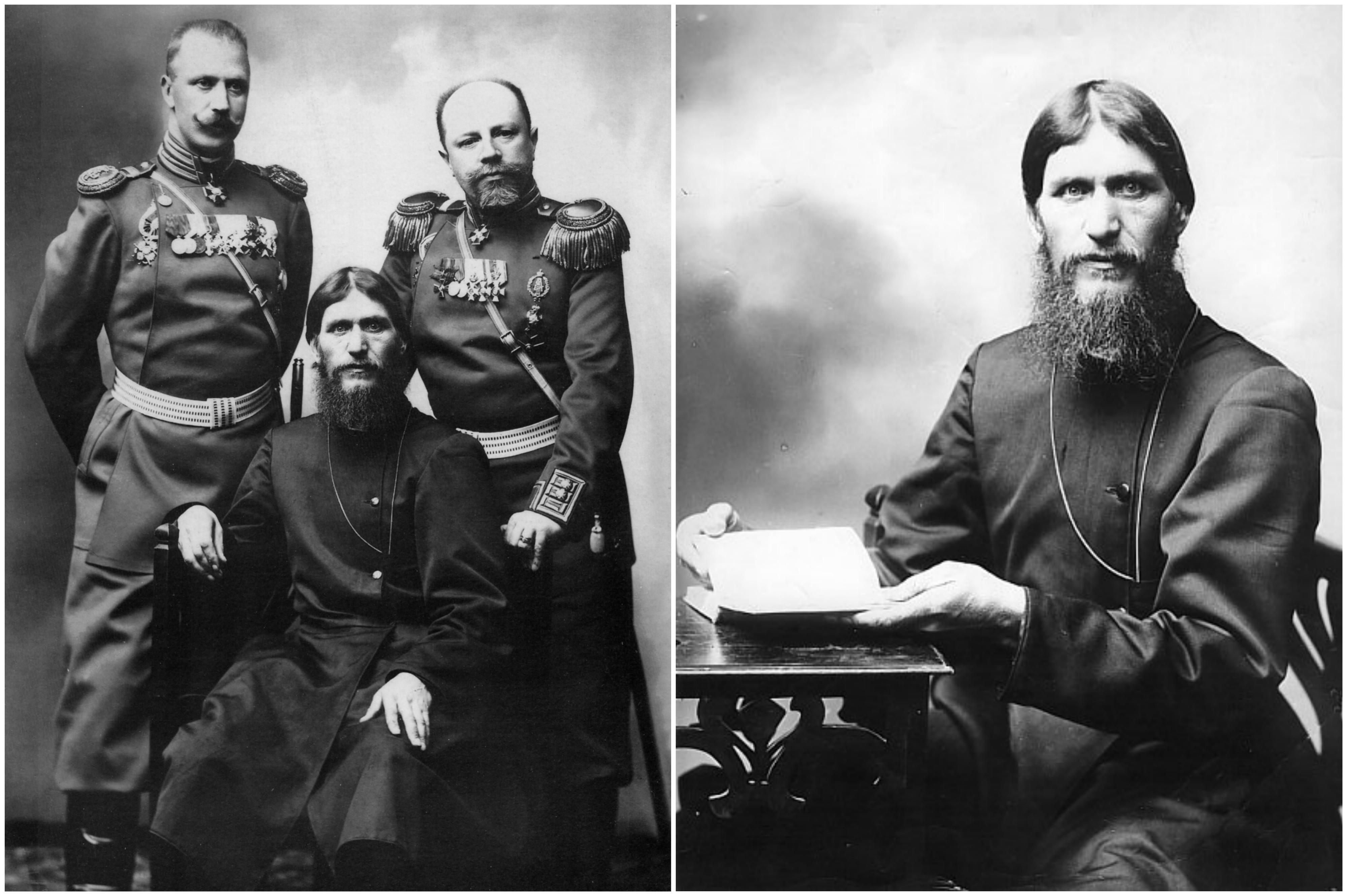 Po Lewej Rasputin W Otoczeniu Rosyjskich Oficjeli Wojskowych Ok 1907 1908 R