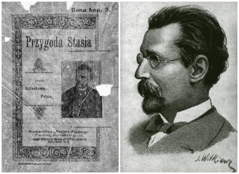 Z lewej strona z pierwszego wydania książkowego ''Przygody Stasia'' z 1899 roku. Z prawej portret pisarza autorstwa Stanisława Witkiewicza (fot. Wikimedia.org / Domena publiczna)