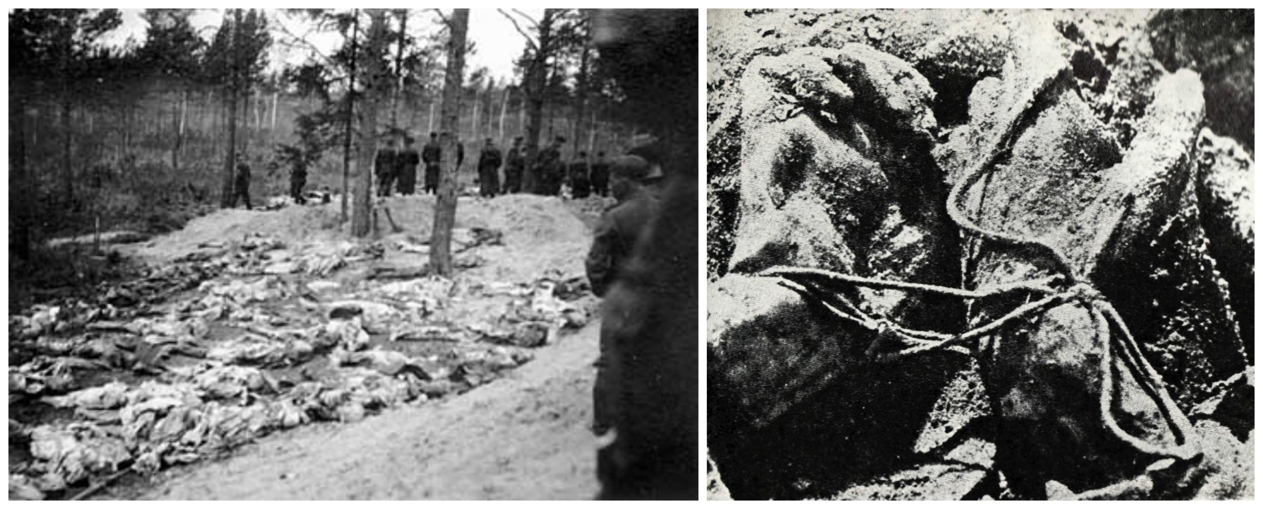 Ekshumacja masowego grobu oficerów polskich w Katyniu, 1943 r. Z prawej strony tzw. węzeł katyński - tak na plecach wiązano ręce ofiarom (fot. Wikimedia.org / Domena publiczna)