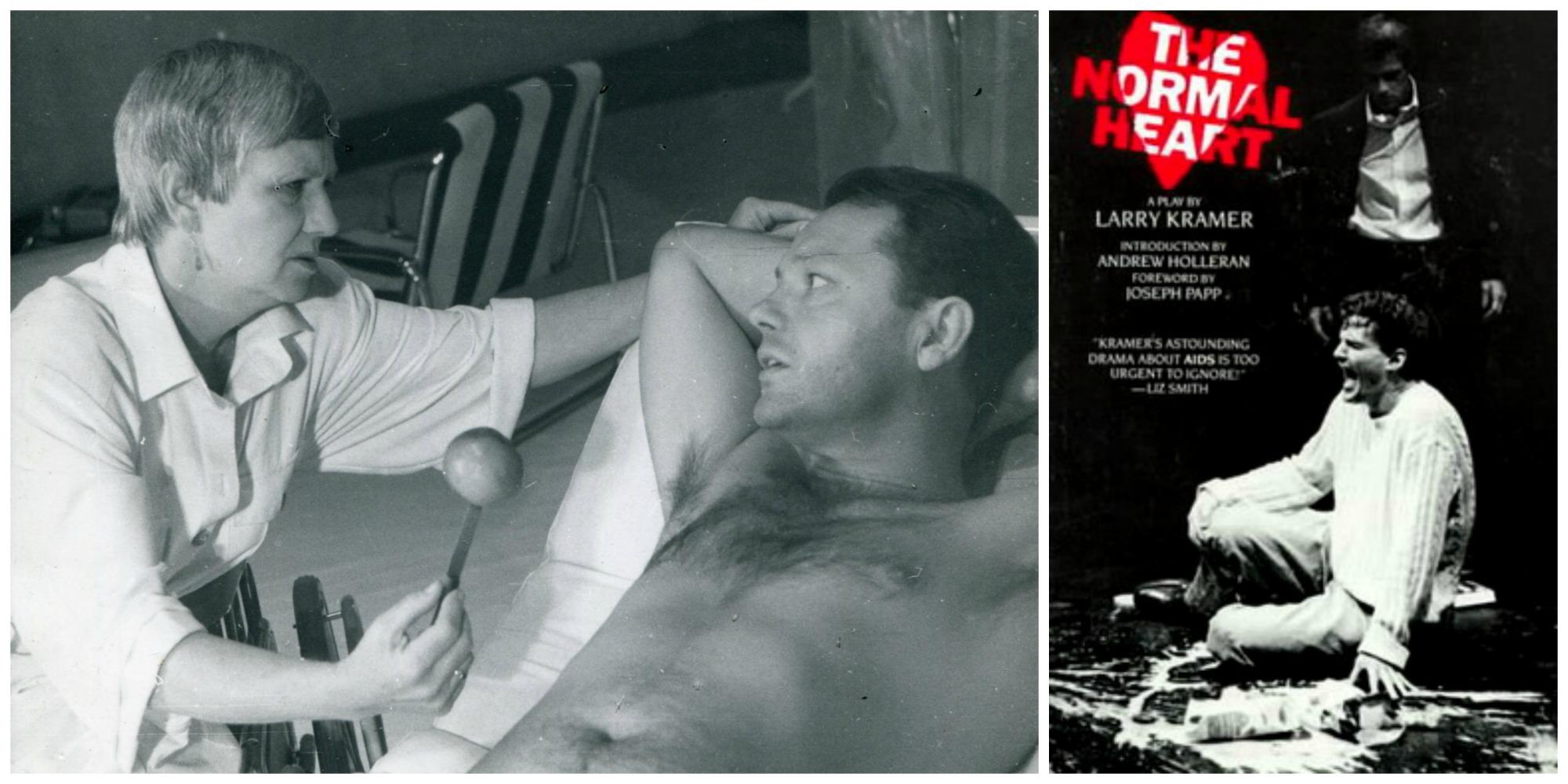 Z prawej plakat promujący sztukę 'The Normal Heart' z 1985 r. Z lewej zdjęcie archiwalne spektaklu 'Normalne serce' w reż. Grzegorza Mrówczyńskiego, wystawionego w 1987 roku w Teatrze Polskim w Poznaniu (fot. Rafał Jasionowicz / Wikimedia.org / Fair use)