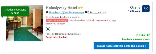 Cena za noc w hotelu w Kijowie