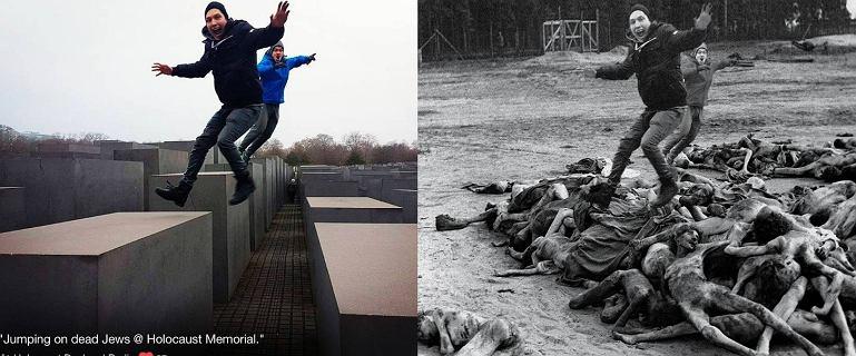 """Selfie i joga wśród ofiar Holocaustu. Wstrząsający projekt artysty. """"Żyje się raz"""""""