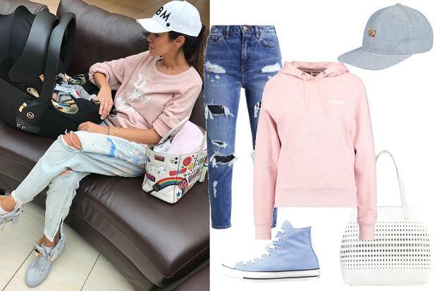 fot. Instagram @nataliasiwiec.official/ różowa bluza i porwane jeansy