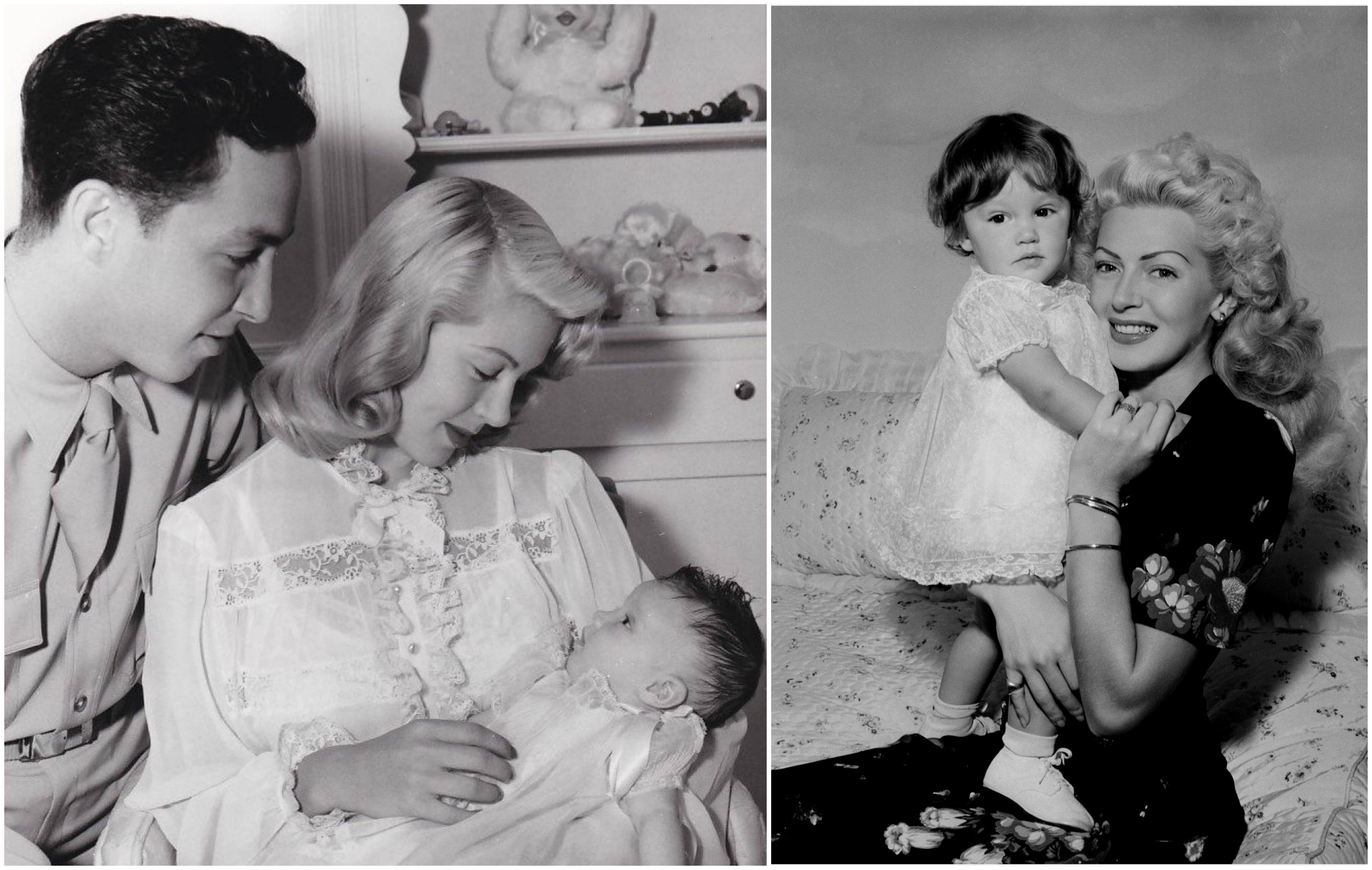 Z lewej Lana i Steve Crane razem z nowo narodzoną Cheryl, wrzesień 1943 r. Z prawej aktorka z córeczką kilkanaście miesięcy później (fot. Wikimedia.org / Domena publiczna / Kristine / Flickr.com / CC BY-NC 2.0)