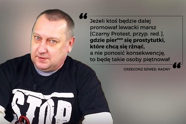 Radny Grzegorz Szwed, wypowiedź z filmu zamieszczonego na jego profilu na Facebooku