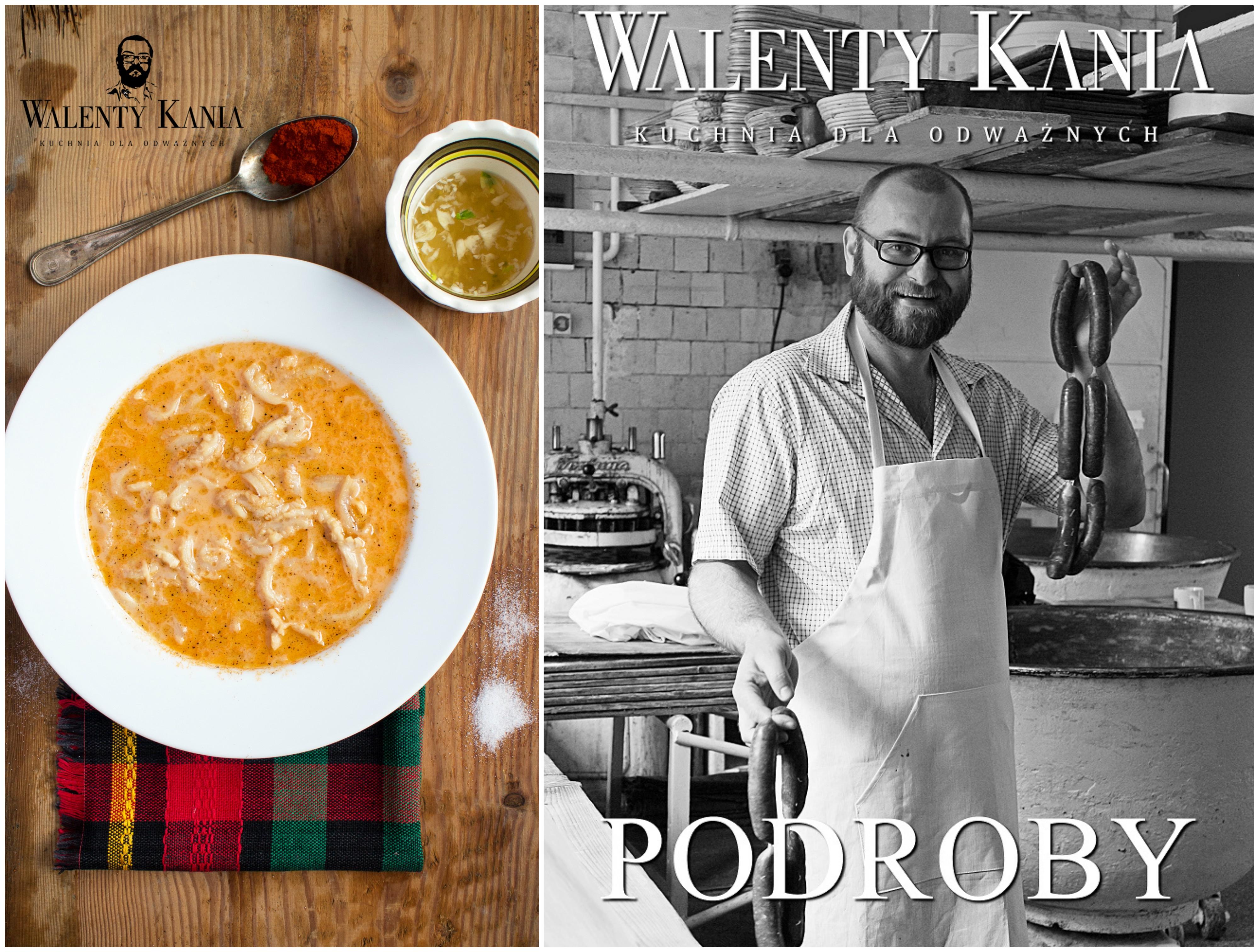 Po lewej flaki po bułgarsku według przepisu Walentego Kani. Po prawej okładka jednej z części 'Kuchni dla odważnych' (fot. archiwum prywatne)