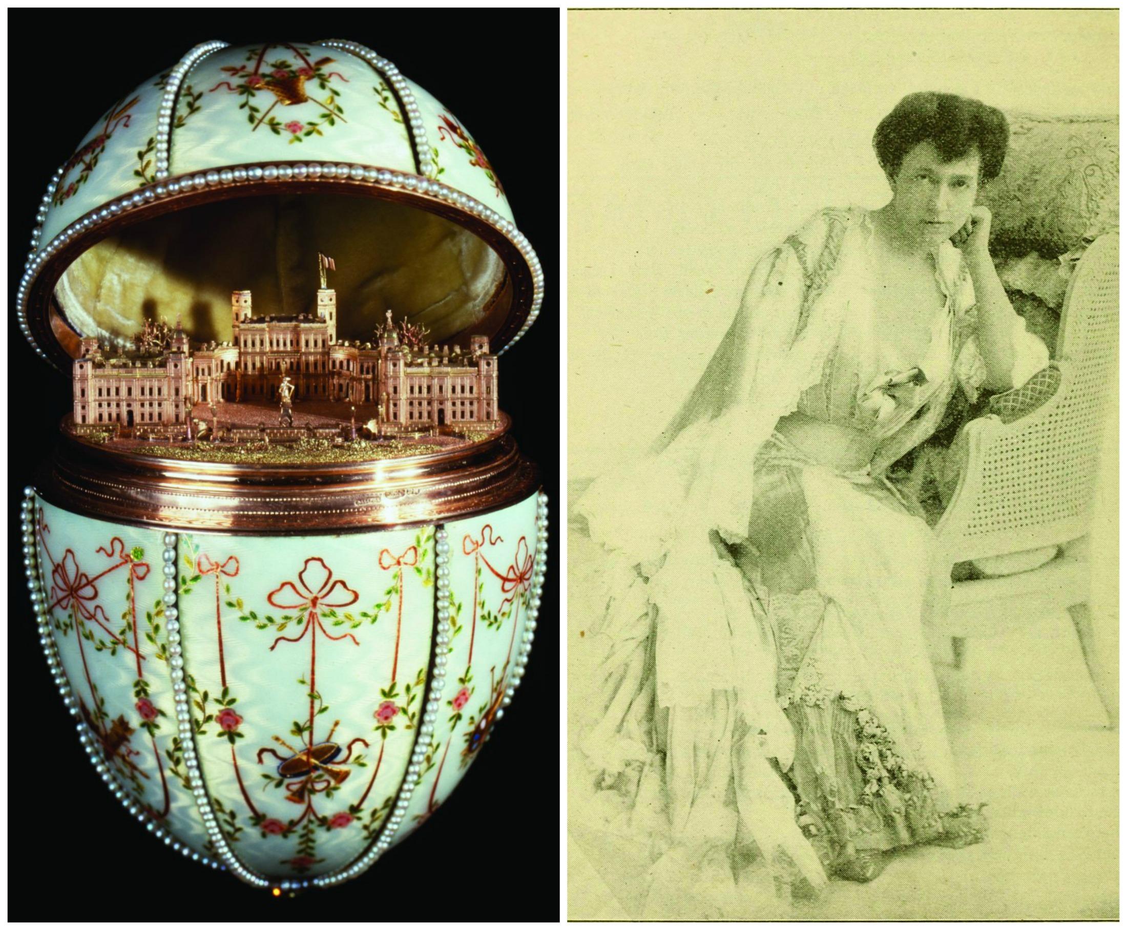 Po lewej Jedno z jajek Fabergégo, powstałe w 1901 roku. Po prawej Elsie de Wolfe, amerykańska aktorka i dekoratorka wnętrz, autorka wydanej w 1913 roku poczytnej książki 'Dom w dobrym guście' (fot. Walters Art Museum / Baltimore, Maryland / Julius Cahn's official theatrical guide (1903-1904) / Domena publiczna)