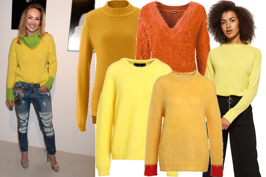 Kolaż, żółty i pomarańczowy sweter/Materiały partnera/fot. WBF