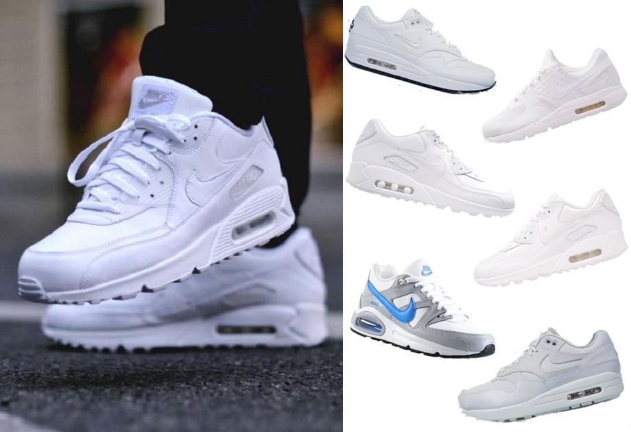 Białe buty sportowe z wyprzedaży Nike Air Max, Adidas