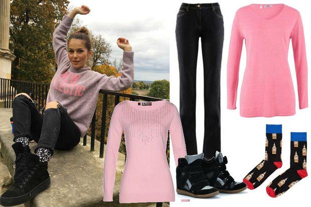 fot. Instagram @paulinasykutjezyna/ różowy sweter i modne skarpetki
