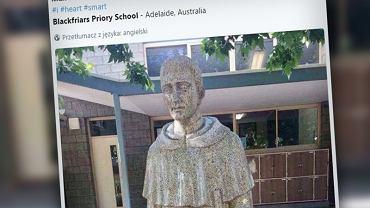 W katolickiej szkole postawili pomnik świętemu. Ale coś poszło nie tak