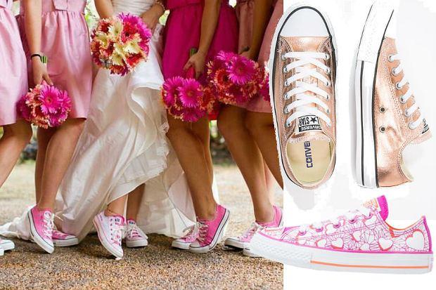 buty sportowe do sukni  ślubnej
