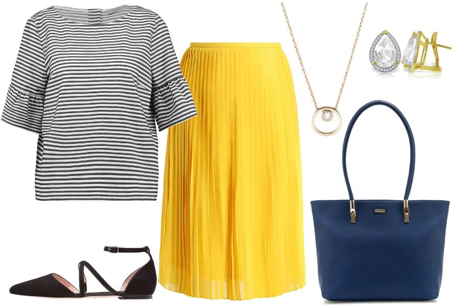 Żółta spódnica i bluzka w paski / mat. partnera