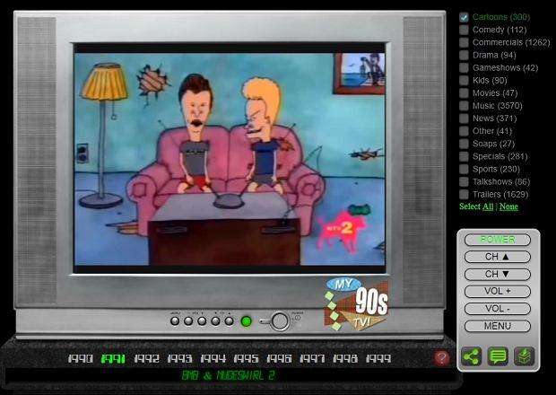 Kadr ze strony my90stv.com z interaktywnym telewizorem z lat 90.