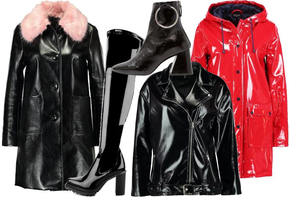 Lakierowane kurtki i płaszcze