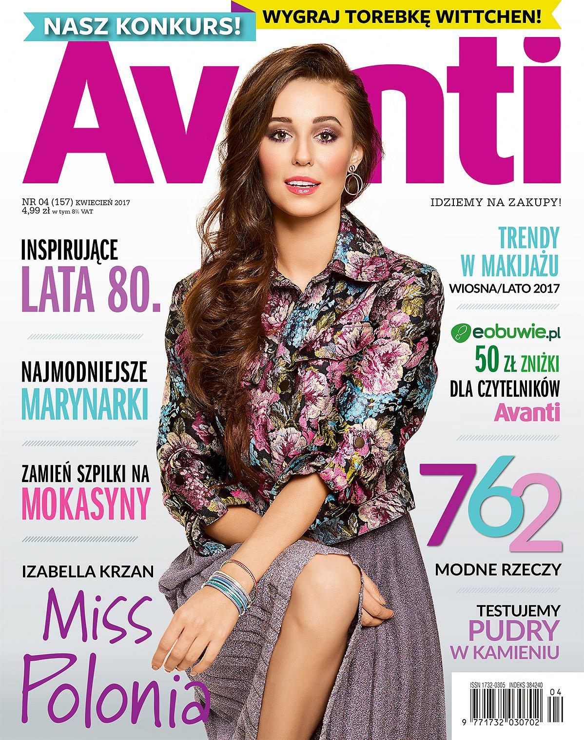 Miss Polonia Izabella Krzan na okładce kwietniowego Avanti