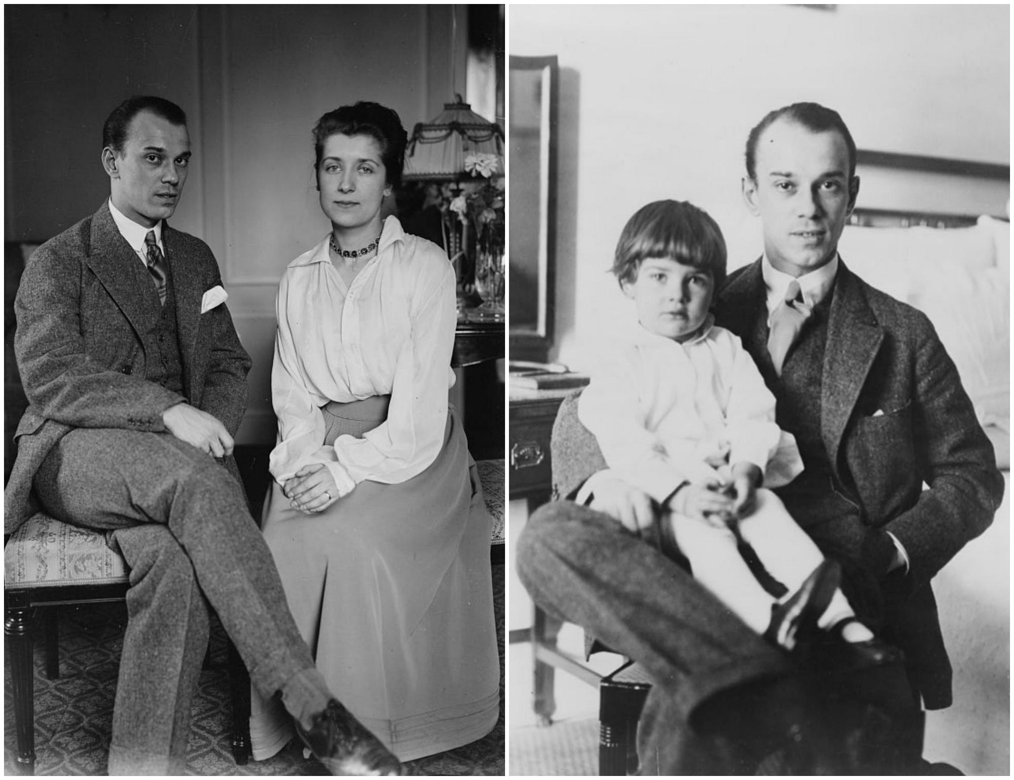 Z lewej Wacław z żoną Romolą Pulszky, z prawej z córką Kirą. Wiosna 1916 r. (fot. Library of Congress / Wikimedia.org / Domena publiczna)