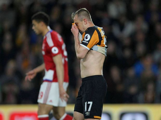 Hull City's Kamil Grosicki reacts during the English Premier League soccer match against Middlesbrough at the KCOM Stadium in Hull, England, Wednesday April 5, 2017. (Richard Sellers/PA via AP) SLOWA KLUCZOWE: soccer football