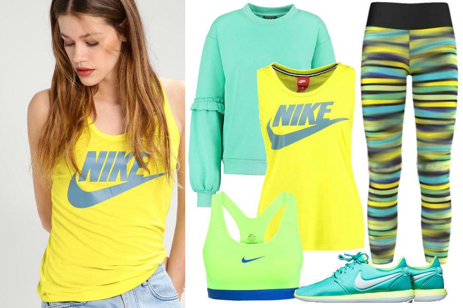 Żółty top, zielony biustonosz sportowy, turkusowe buty nike