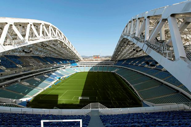 FILE - In this Wednesday, March 1, 2017 filer, an inside view of the Fisht Olympic stadium, which will host some 2018 World Cup matches in Sochi, Russia. (AP Photo/Artur Lebedev, File)