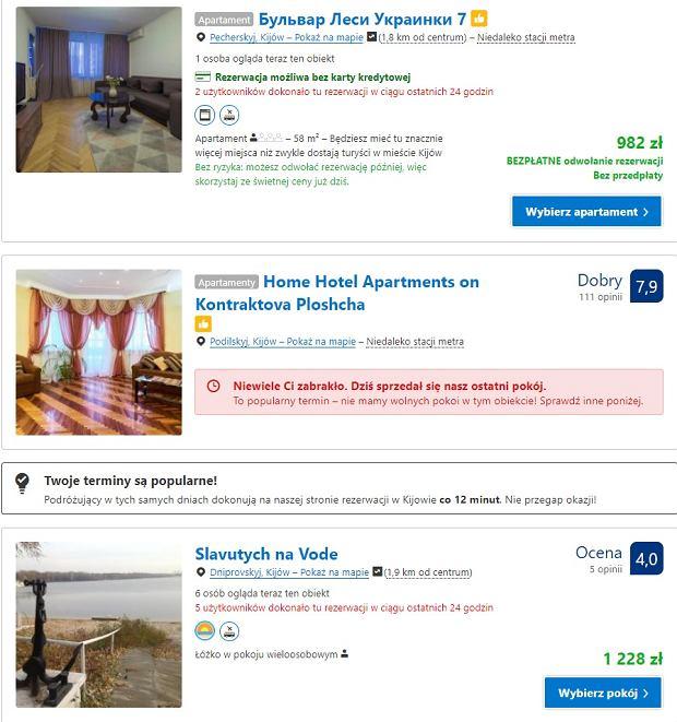 Cena za noc hotelu w Kijowie