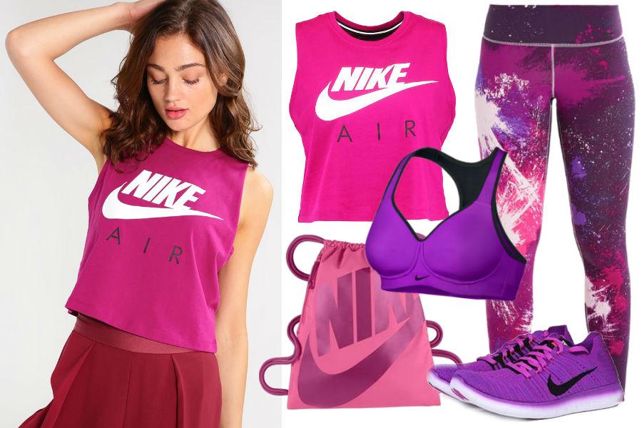 Różowy plecak, fioletowe buty sportowe, kolorowe legginsy