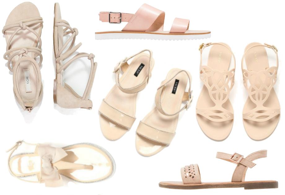 Sandały z zapięciem w kolorze nude
