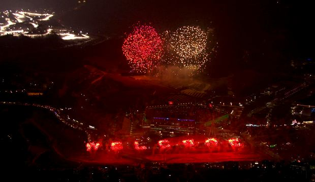 In this image made from video, fireworks are seen over Pyeongchang Olympic Stadium during the opening ceremony of the 2018 Winter Olympics in Pyeongchang, South Korea, Friday, Feb. 9, 2018. (OBS-IOC via AP) SLOWA KLUCZOWE: 2018 Pyeongchang Olympic Games;Winter Olympic games;Sports;Events;XXIII Olympiad